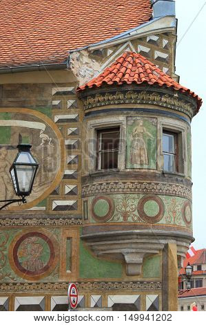 A medieval balcony in Telc Czech Republic