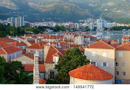 BUDVA MONTENEGRO - SEPTEMBER 17 2015: Top view of Old Town Budva Montenegro