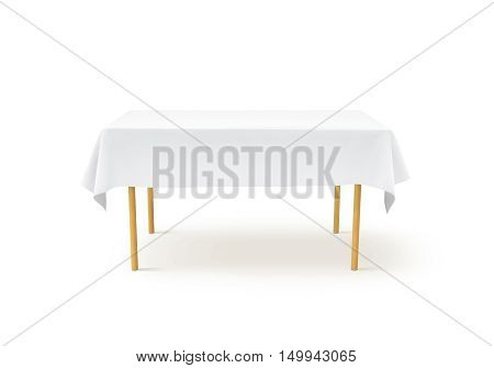 Bank white tablecloth mockup clipping path 3d rendering. Clear table cloth design mock up isolated. Fabric space satin on desk template. Kitchen wood table clean textile overlay. Setting cafe table.