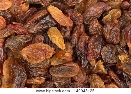Background of sweet dry raisins close up