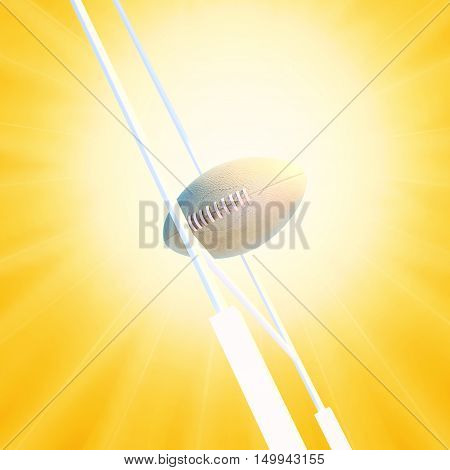 Rugby ball against rugby goalpost and sunrise. 3D illustration