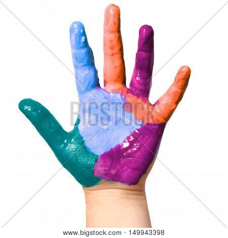 A painted children hand isolated on white background
