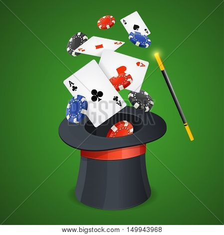 Casino Win Concept Cards and Chips with Magici Hat. Vector illustration