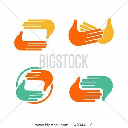 Isolated abstract clapping hands logo set. Give five logotype collection. Shaking hands sign. Greeting symbol. Positive friendly congratulating gesture icon.Photo shooting studio. Vector illustration