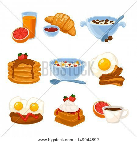 Vector breakfast food set. Icons of healthy food orange juice, eggs and bacon, croissant, pancakes, cereal and waffles. Cartoon illustration isolated on white.