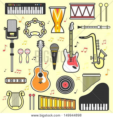 Set of musical instruments: drum, guitar, saxophone, piano and harpsichord, flute and banjo. Vector music icons in flat style. Isolated illustrations