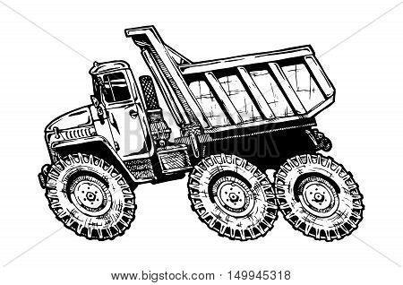 vector illustration of dump truck in comics style. hot rot.