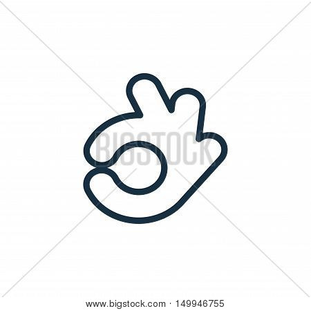 Isolated abstract back and white color ok logo. Human hand contour logotype. Approval gesture sign. Positive estimation symbol. Vector illustratio