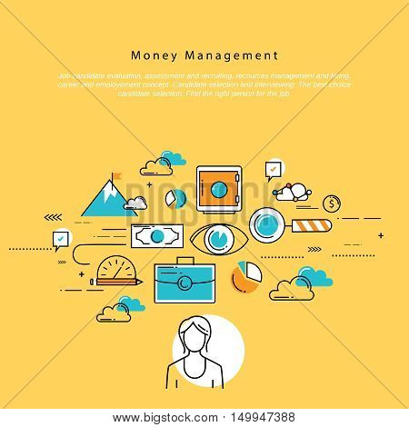 Flat line corporate business vector illustration design and infographic elements for money management, financial planning and accounting, investment, finance, banking, profit and savings concept