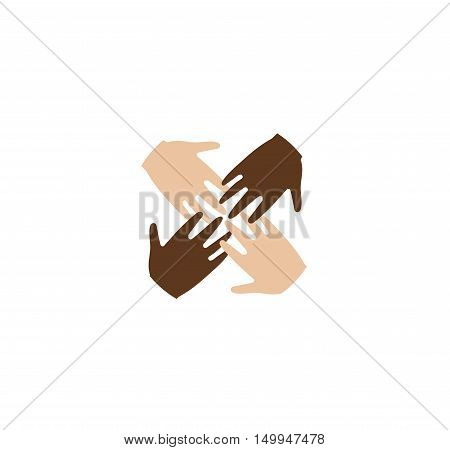 Isolated abstract four brown and white skin human hands together logo. Anti racism logotype. International friendship sign. Equal people symbol. Vector illustration