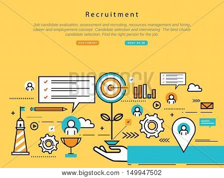 Line flat vector business design and infographic elements for job candidate evaluation, interviewing, assessment, recruiting, resources and corporate management, hiring and employment, career concept
