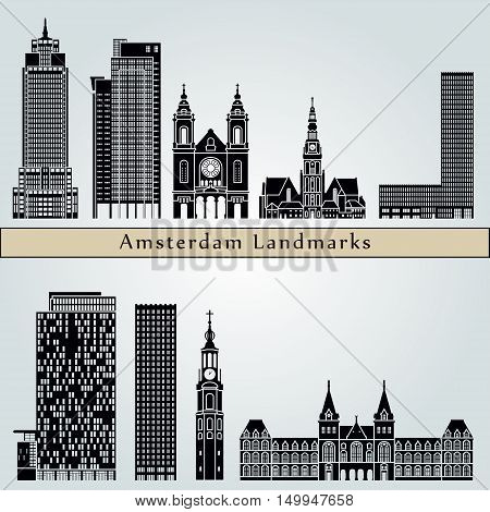 Amsterdam V2 landmarks and monuments isolated on blue background in editable vector file