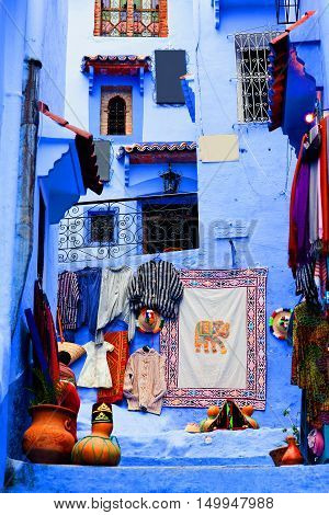 Street in Medina of Chefchaouen, Morocco. Chefchaouen or Chaouen is a city in northwest Morocco. It is the chief town of the province of the same name and is noted for its buildings in shades of blue