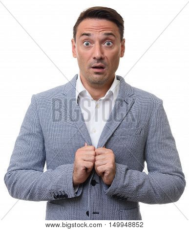 Frightened Guy. Shocked Business Man Isolated