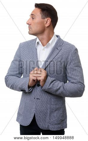 Profile Of Businessman Wearing Casual Jacket, Isolated