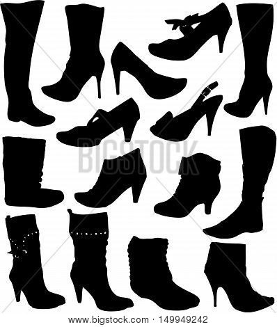 Big collection of women's shoes. Vector ilustration.