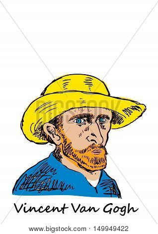 A hand drawn vector illustration of the Dutch artist Vincent Van Gogh.
