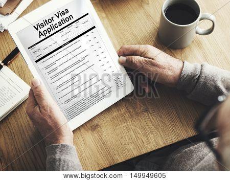 Senior Visa Application Document Concept