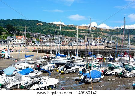 LYME REGIS, UNITED KINGDOM - JULY 18, 2016 - Boats and yachts moored in the harbour with views towards the beach and town Lyme Regis Dorset England UK Western Europe, July 18, 2016.