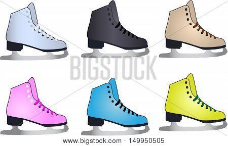 Skates for figure skating - sport icons, vector illustration.