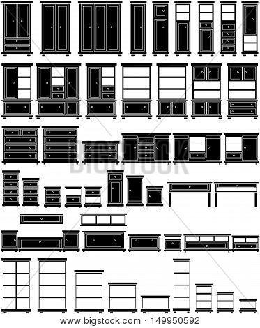 Large furniture set, vector illustration . Black silhouettes.