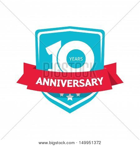10 years anniversary sticker vector, blue color 10th anniversary party label with red ribbon, celebrating symbol with number ten isolated on white background
