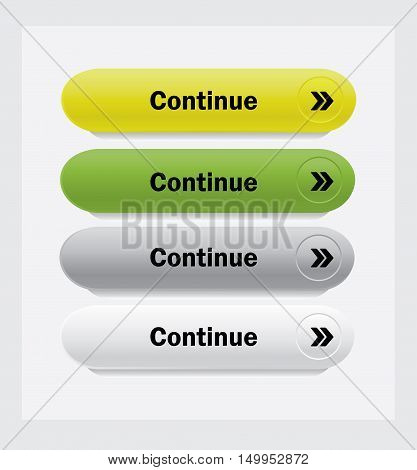 Continue. Set of web interface vector buttons.