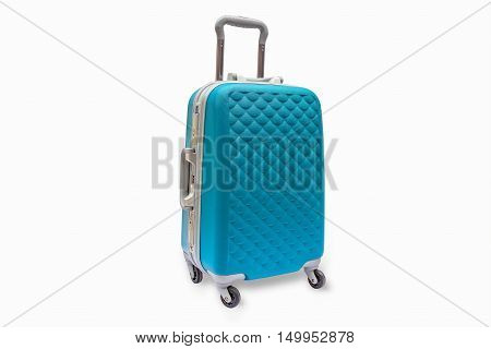 Suitcases cyan white background. With clipping path.