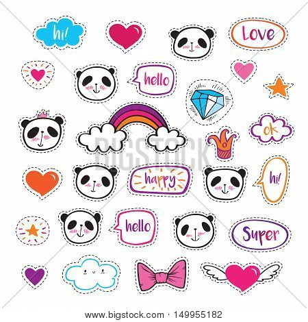 Set of fashion patch badges with cute pandas, hearts, stars and bubbles. Stickers, pins, patches.  Vector.