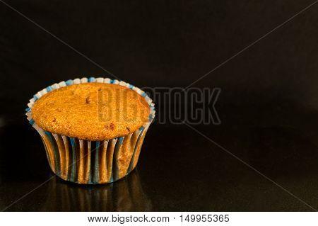 Homemade muffin disposed on a darken background