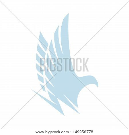 Isolated abstract blue color eagle, hawk of falcon silhouette logo. Dangerous hunting bird logotype. Wings icon. Air element. Flight sign. Airlines symbol. Vector bird illustration.