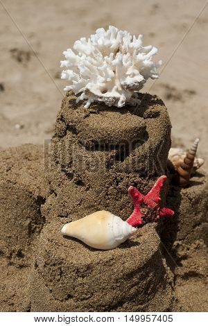Sandcastle with starfish, coral and seashell on sandy beach, portrait
