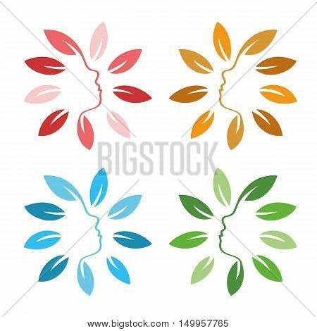 Isolated abstract colorful floral logo set. Round shape flowers with petals logotype collection. Floral vector illustrations. Woman profile face icons. Female side view signs. Natural elements