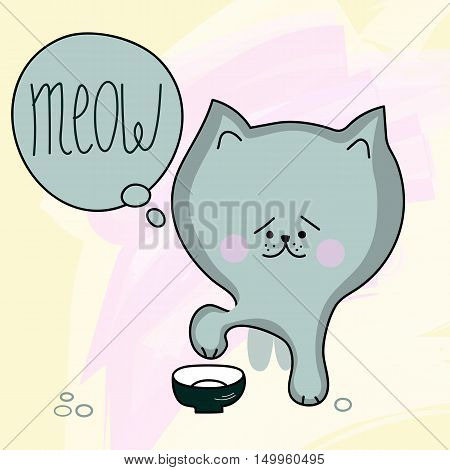 Hungry kitten. Vector little cat flat hand-drawn sits at bowl and says meow. Sad cat with big head
