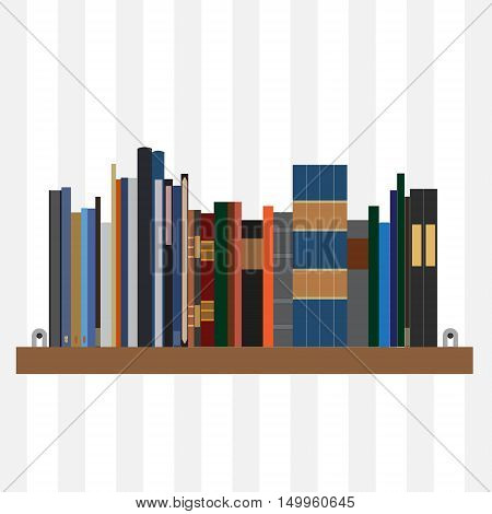 Book shelf vector isolated with bibliography encyclopedia and handbooks. Literature bookstore