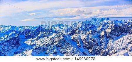 Plateau Rosa in Cervinia ski resort, in background the snowy peak next Matterhorn. View from Klein Matterhorn, Zermatt, Switzerland.