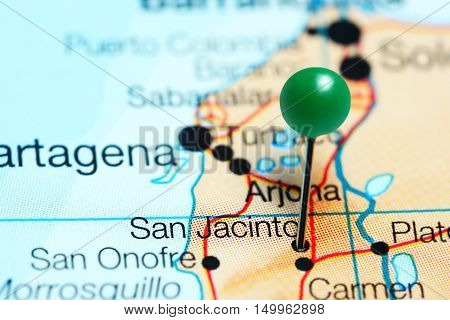 San Jacinto pinned on a map of Colombia