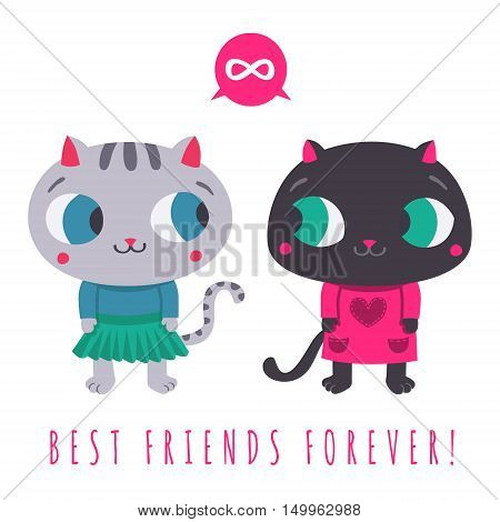 Best friends forever cute gray cat in skirt and sweater and black cat in dress with speech bubble and infinity sign illustration.