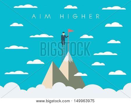 Career or business mission motivation poster, wallpaper, background. Businessman on ladder, mountain top, symbol of success. Eps10 vector illustration