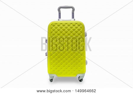 Suitcases yellow on white background with clipping path.