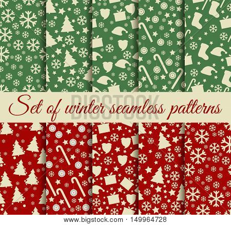 Seamless Patterns Christmas. Winter Pattern With Christmas Symbols. Vector Illustration.