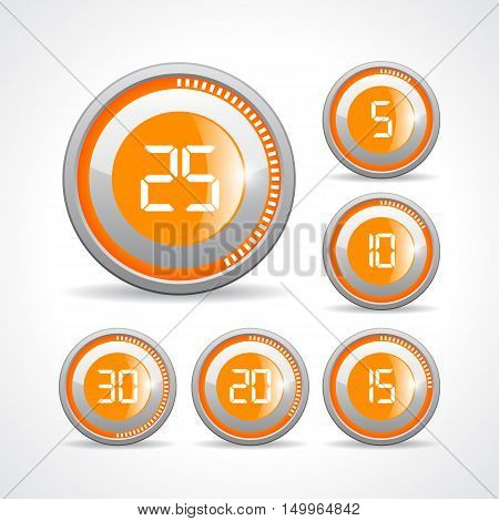 Timer button set vector illustration isolated on white background