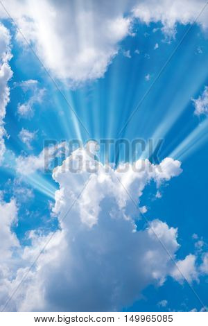 Sunbeam through the haze on blue sky