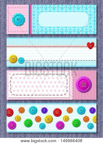 Set of vector cards with colorful buttons. Perfect for baby shower, birthday and other events.