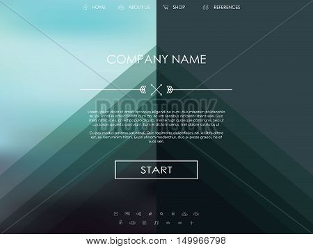 Vector website template with graphic user interface also for mobile. Blurred background gradient mesh. Line icons. Ghost buttons. Minimalistic style. One page. Introduction. Eps10 vector illustration.