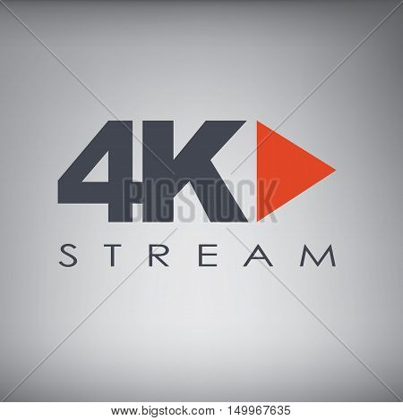 Symbol of Ultra HD streaming or playing video online content for screens and tvs with 4k resolution. Eps10 vector illustration.