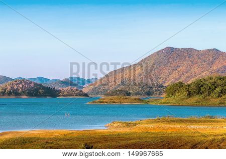 Landscape Pictures Kaeng Krachan Dam. With mountains and clear water.