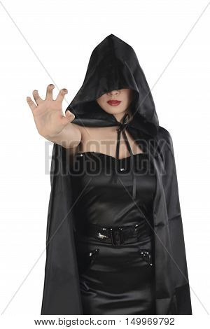 Asian Witch Woman With Black Cloak Showing Catching Hand