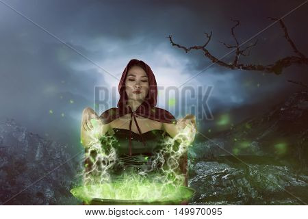 The Charming Asian Witches Woman Preparing A Potion