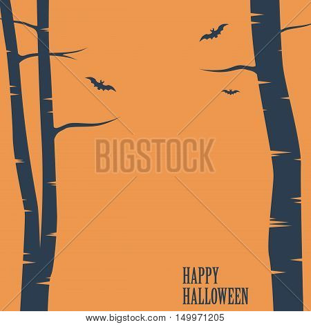 Happy halloween card. Birch trees and bats silhouettes. Simple holiday greeting or party invitation. Space for text. Eps10 vector illustration.